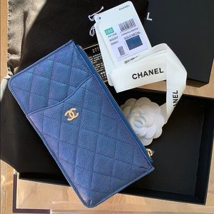 Authentic Chanel 19S Iridescent Blue Wallet Phone